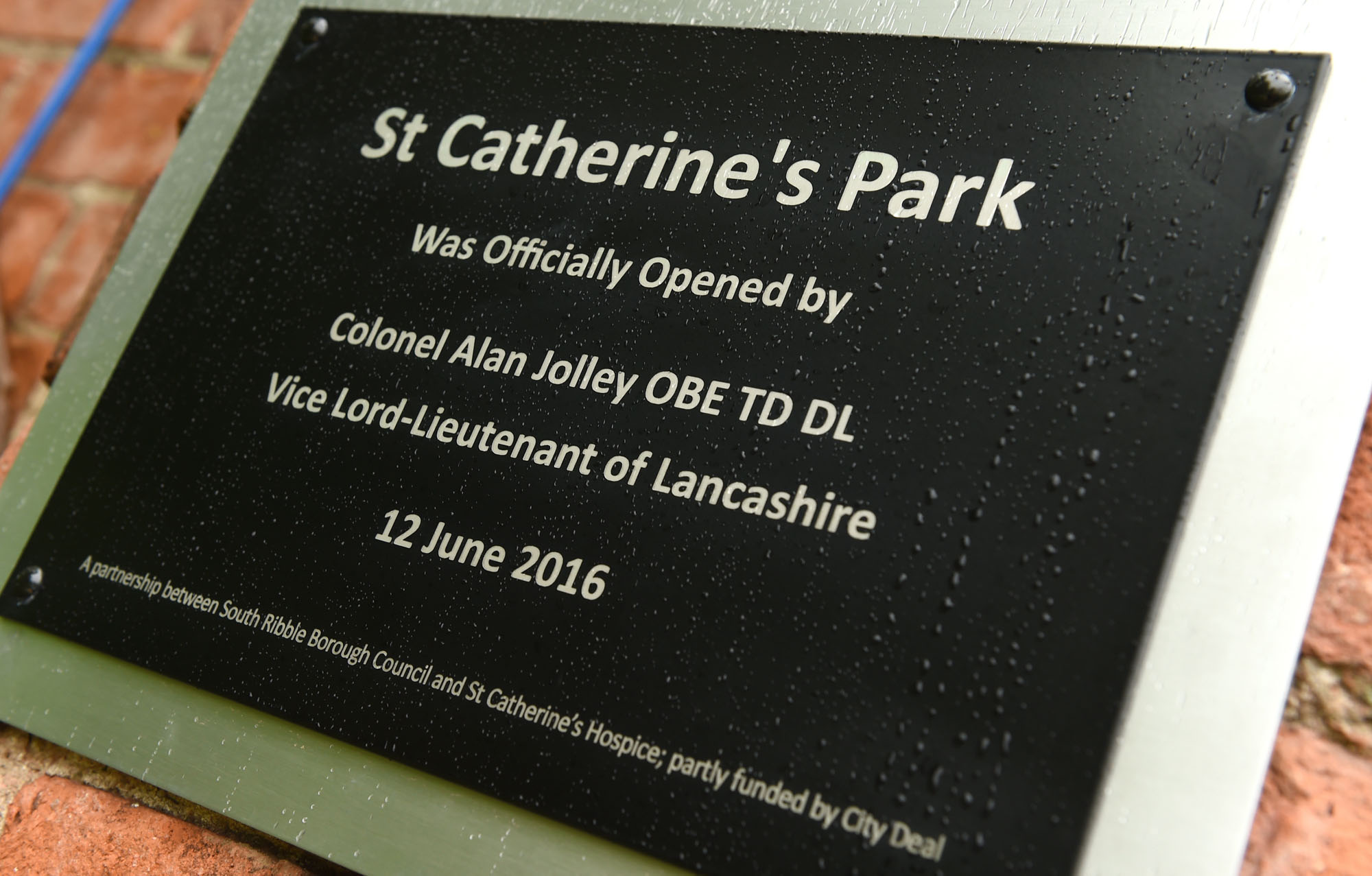 St Catherine's Park Opening Plaque
